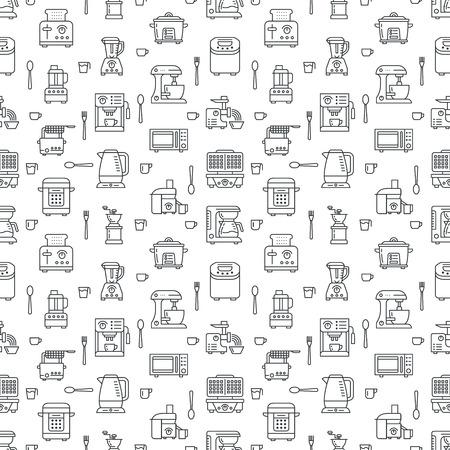 Küche Kleingeräte Ausrüstung nahtlose Muster mit Isoelektrisches Symbole. Haushalts-Kochutensilien - Mixer, Mixer, Küchenmaschine, Kaffeemaschine, Mikrowelle, Toaster. Lineare Zeichen Elektronikladen.