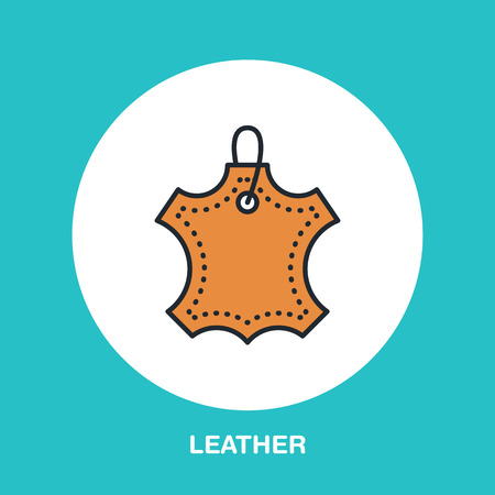 Leather material line logo. Flat sign for clothes feature. Logotype for leather garment dry cleaning, shoe repair service icon.