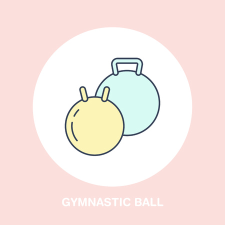 Fit ball icon line logo. Flat sign for gymnastics, orthopedic equipment, physiotherapy.