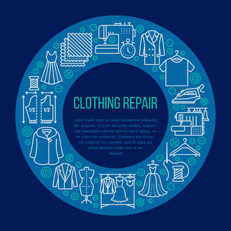 Clothing repair, alterations studio equipment banner illustration. Vector line icon of tailor store services - dressmaking, suit, garment sewing. Clothes atelier circle template with place for text. Vectores