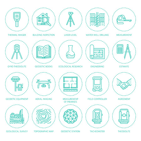 Geodetic survey engineering vector flat line icons. Geodesy equipment, tacheometer, theodolite, tripod. Geological research, building measurement inspection illustration. Construction service signs. Illustration