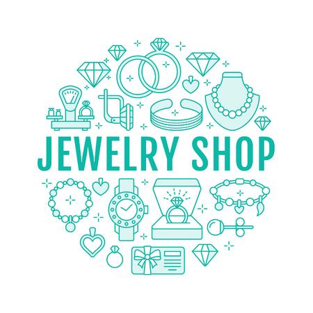 Juweliergeschäft, Diamantzubehör Banner Illustration. Vector Linie Ikone der Juwelen - Goldverlobungsringe, Edelsteinohrringe, silberne Halsketten, Charmearmbänder, brilliants. Modespeicher-Kreisschablone.