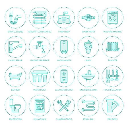 Plumbing service vector flat line icons. House bathroom equipment, faucet, toilet, pipeline, washing machine, dishwasher. Plumber repair illustration, thin linear signs for handyman services.