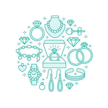 Schmuck-Shop, Diamant-Zubehör Banner Illustration. Vector Line Icon von Juwelen - Gold Uhren, Verlobungsringe, Edelstein Ohrringe, Silber Halsketten, Charme, Brillanten. Mode-Shop Kreis Vorlage.
