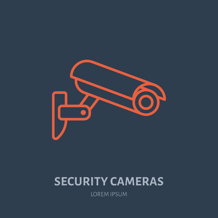 security monitor: Security camera vector flat icon, safety system logo. Flat sign for video monitored zone. Illustration