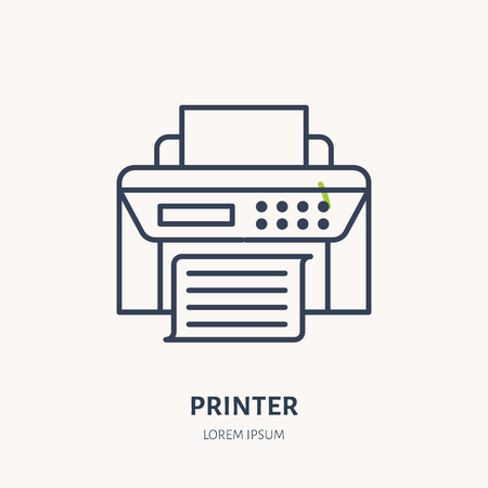 Printer with paper page flat line icon. Wireless technology, office equipment sign. Vector illustration of communication devices for electronics store. Illustration