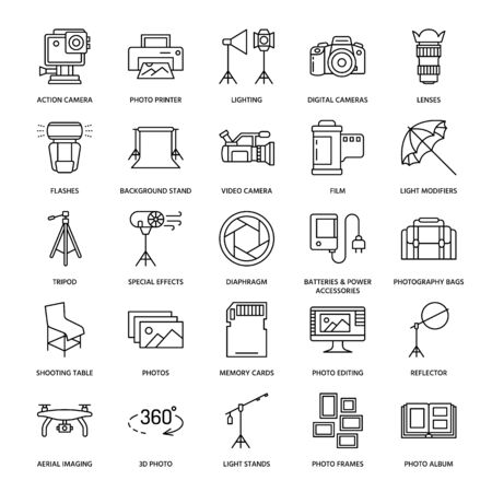 Iconos de línea plana de equipo de fotografía. Cámaras digitales, fotos, iluminación, cámaras de vídeo, accesorios de fotografía, tarjeta de memoria, película de lente trípode. Ilustración del vector, muestras para el estudio o la tienda de la foto.
