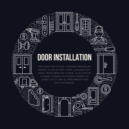 peephole: Doors installation signs, repair banner illustration. Vector line icon of various door types, handle, latch, lock, hinges. Circle template with place for text, interior design shop, handyman service.
