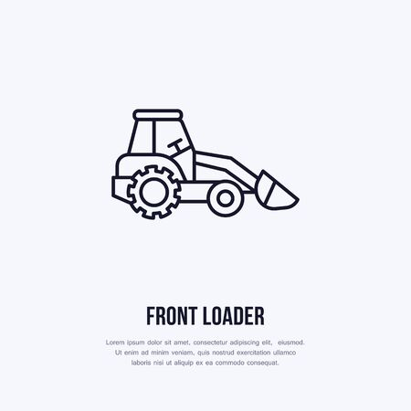 Front loader vector flat line icon. Transportation logo. Illustration of excavator, industrial equipment rent. Ilustração