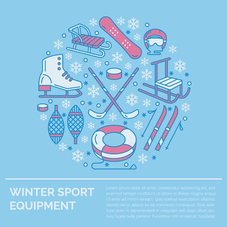 Winter sports banner, equipment rent at ski resort. Vector line icon of skates, hockey sticks, sleds, snowboard, snow tubing hire. Cold season outdoor activities template with place for text. Illustration