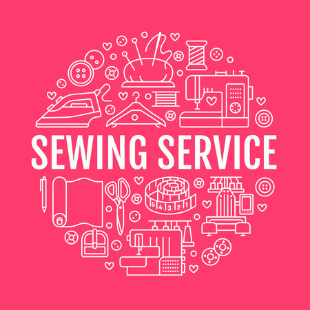 Clothing repair, sewing studio equipment banner illustration. Vector line icon of tailor store services - dressmaking, dress, garment sewing. Clothes atelier circle template with place for text.