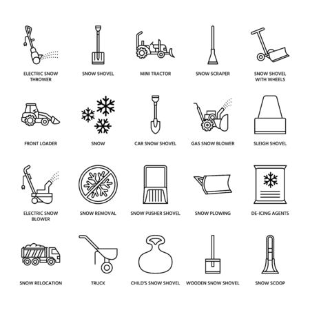 Snow removal flat line icons; Ice service signs; Cold weather equipment - snow thrower, blower, truck, front loader, snow shovel.