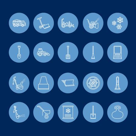Snow removal flat line icons; Ice service signs; Cold weather equipment - snow thrower, blower, truck, front loader, snow shovel. Reklamní fotografie - 87666232
