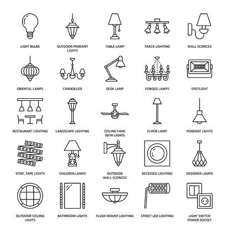 Licht armatuur, lampen platte lijn pictogrammen. Huis- en buitenverlichtingstoestellen - kroonluchter, wandkandelaar, bureaulamp, gloeilamp, stopcontact. Vectorillustratie, tekenen voor elektrische, interieur winkel.