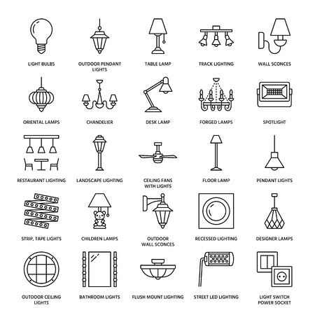 Light fixture, lamps flat line icons. Home and outdoor lighting equipment - chandelier, wall sconce, desk lamp, light bulb, power socket. Vector illustration, signs for electric, interior store. Illusztráció
