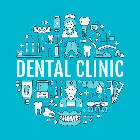Dentist, orthodontics medical banner with vector line icon of dental care equipment, braces, tooth prosthesis, veneers, floss, caries treatment. Health care thin linear poster for dentistry clinic. Illustration