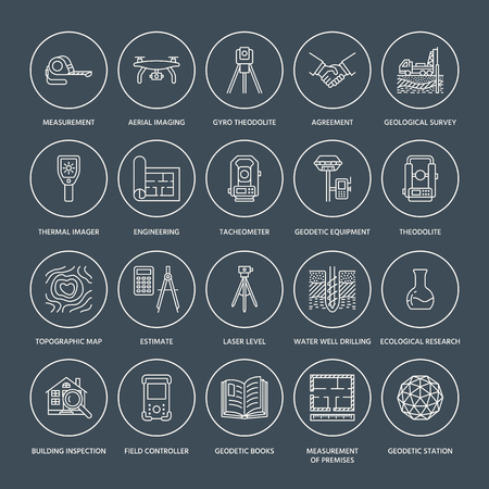 Geodetic survey engineering vector flat line icons. Geodesy equipment, tacheometer, theodolite, tripod. Geological research, building measurement inspection illustration. Construction service signs. Vectores