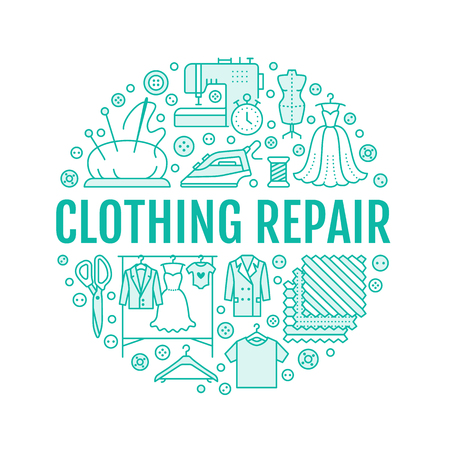 Clothing repair, alterations studio equipment banner illustration. Vector line icon of tailor store services - dressmaking, dress, garment sewing. Clothes atelier circle template with place for text. Illustration