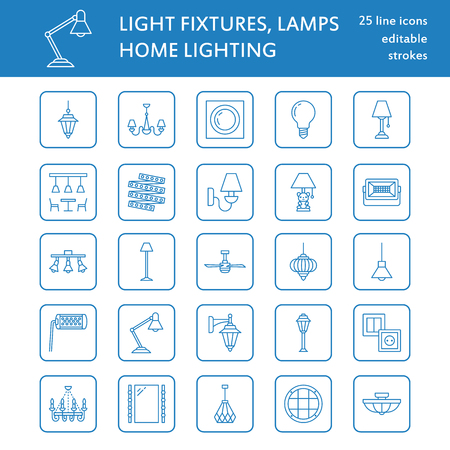 Light fixture, lamps flat line icons. Home and outdoor lighting equipment - chandelier, wall sconce, desk lamp, light bulb, power socket. Vector illustration, signs for electric, interior store. Ilustração