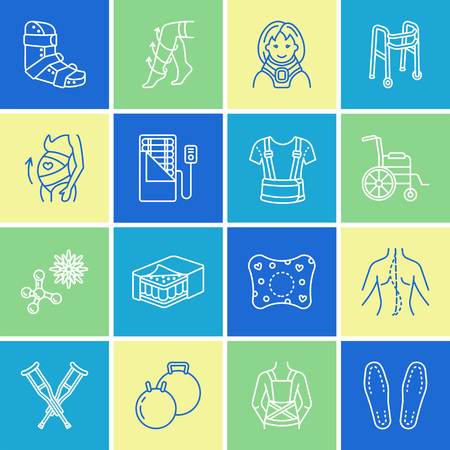 Orthopedic, trauma rehabilitation line icons.