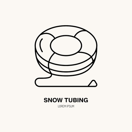 Vector thin line icon of snow tubing. Winter recreation equipment rent logo. Outline symbol, cold season activities sign.
