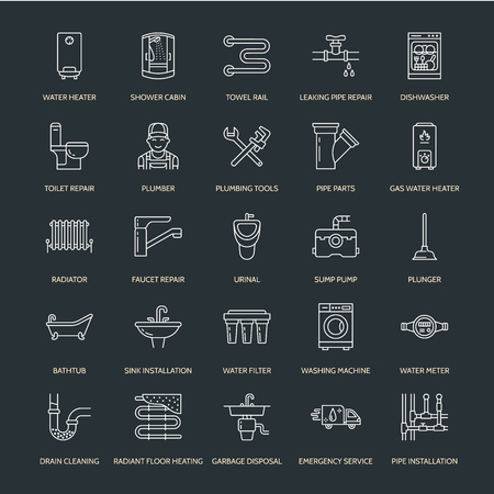 Iconos de línea plana de vector de servicio de plomería. Equipo de baño de casa, grifo, inodoro, tubería, lavadora, lavavajillas. Ilustración de la reparación del fontanero, muestras lineares finas para los servicios del manitas.