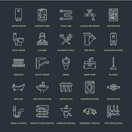 Usługa sanitarna wektora płaskie ikony linii. Wyposażenie łazienek domowych, kran, WC, rurociąg, pralka, zmywarka. Ilustracja do napraw hydrauliki, cienkie liniowe znaki dla złota rąk.