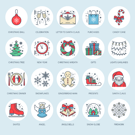 Christmas, new year flat line icons. Winter holidays - christmas tree gift, snowman, santa claus, fireworks, angel. Vector illustration, signs for celebration xmas party. Stock Photo
