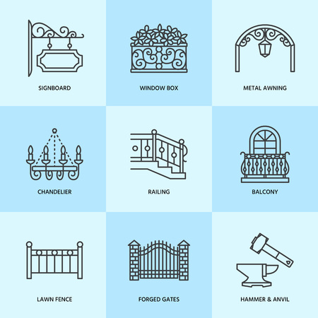 Forged metal products, artistic forging vector line icons. Blacksmith elements, wrought window fence, gate, railing, garden furniture, signboard and street lights. Metal decoration thin linear signs. Stock Photo