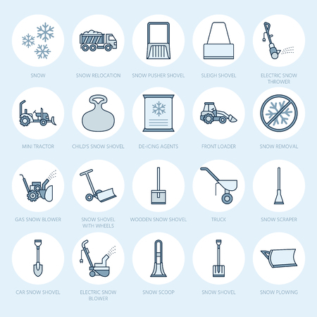 Snow removal flat line icons. Ice relocation service signs. Cold weather equipment - snow thrower, blower, truck, front loader, snow shovel. Vector illustration, industrial cleaning symbols. Vector Illustration