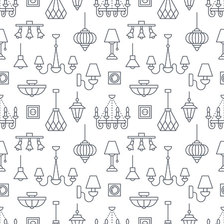 Light fixture, lamps seamless pattern, line illustration. Vector icons of home lighting equipment - chandelier, table lamp, power socket. Repeated background for interior store black and white. Vettoriali