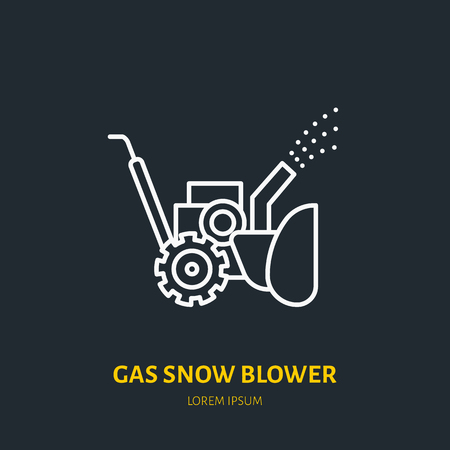 Gas snow blower flat line icon. Vector sign of snow removal equipment.
