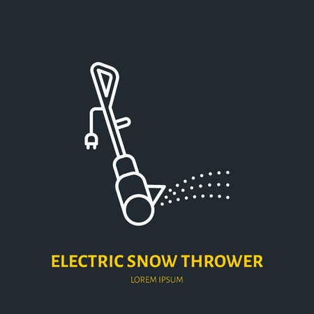 Electric snow thrower flat line icon. Vector sign of snow removal equipment.