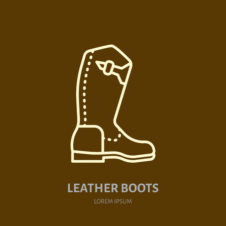 Leather boots line  . Flat sign for polo equipment store. Traditional cowboy footwear icon.