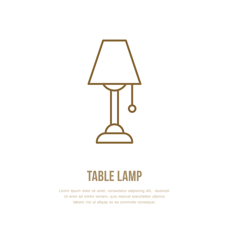 Table lamp flat line icon; Home lighting, light fixture sign, illustration for interior store.
