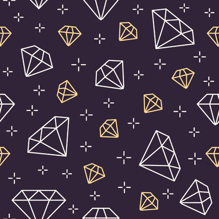 Jewelry seamless pattern, diamonds line illustration. Vector icons of brilliants. Fashion store dark repeated background.