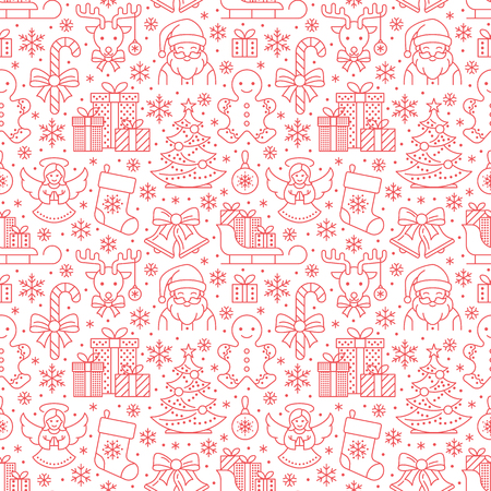 Christmas, new year seamless pattern, line illustration. Vector icons of winter holidays christmas tree, gifts, santa claus, angel, presents, jingle bells. Celebration party red repeated background. Illustration