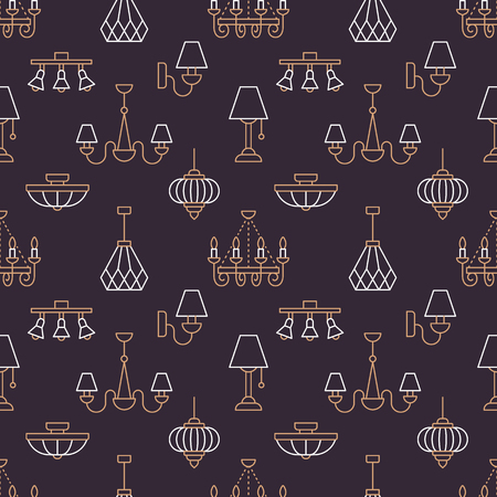 Light fixture, lamps seamless pattern, line illustration. Vector icons of home lighting equipment - chandelier, table lamp, power socket. Dark repeated background for interior store.