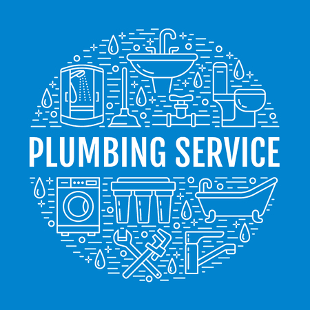 Plumbing service blue banner illustration. Vector line icon of house bathroom equipment, faucet, toilet, pipeline, washing machine, water filter. Plumber repair circle template with text.