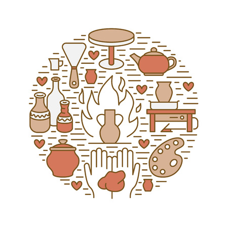 Pottery workshop, ceramics classes banner illustration. Vector line icon of clay studio tools. Hand building, sculpturing equipment. Art shop circle template. Фото со стока