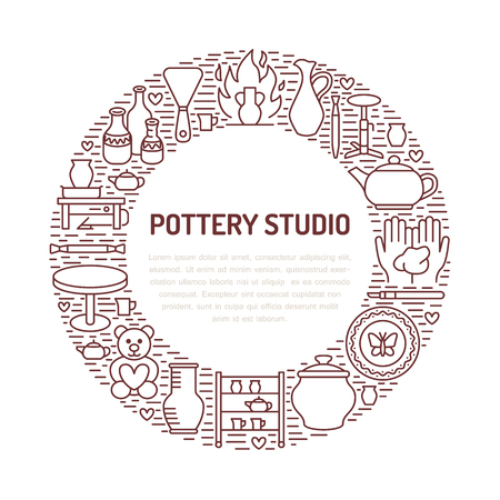 Pottery workshop, ceramics classes banner illustration. Vector line icon of clay studio tools. Hand building, sculpturing equipment. Art shop circle template with place for text. Illustration