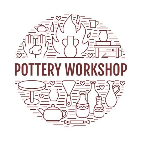 陶器のワーク ショップ、陶芸教室バナー イラストです。粘土 studio ツールのベクター線のアイコン。建物、設備を彫刻の手です。アート ショップ  写真素材