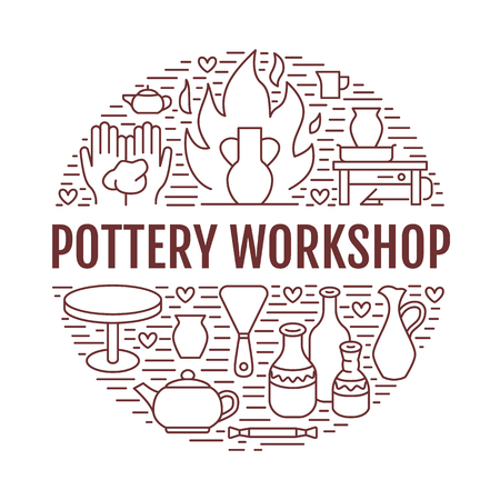 Pottery workshop, ceramics classes banner illustration. Vector line icon of clay studio tools. Hand building, sculpturing equipment. Art shop circle template with text. Stock fotó - 89505227