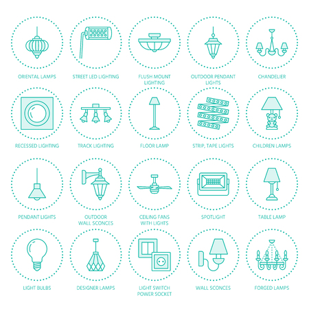 Light fixture, lamps flat line icons. Home and outdoor lighting equipment - chandelier, wall sconce, desk lamp, light bulb, power socket. Vector illustration, signs for electric, interior store. Çizim