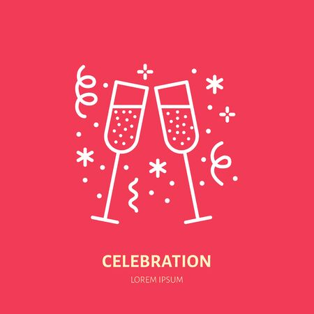 Sparkling wine line icon. Vector for event service. Linear illustration of new year or birthday celebration. 版權商用圖片