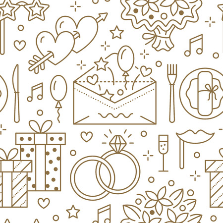 Wedding party seamless pattern, flat line illustration. Vector icons of event agency, organization - rings, balloons, gifts, invitation, flowers. Cute repeated background.
