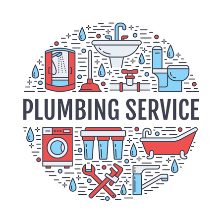 Plumbing service banner illustration. Vector line icons of house bathroom equipment, faucet, toilet, pipeline, washing machine, water filter. Plumber repair circle template with text.