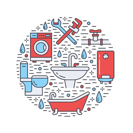 Plumbing service banner illustration. Vector line icon of house bathroom equipment, faucet, toilet, pipeline, washing machine, water boiler. Plumber repair circle template.