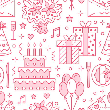 Wedding and birthday party pattern Stock Illustratie