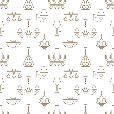 Light fixture, lamps seamless pattern, line illustration. Vector flat icons of home lighting equipment chandelier. Repeated background for interior store beige and white.